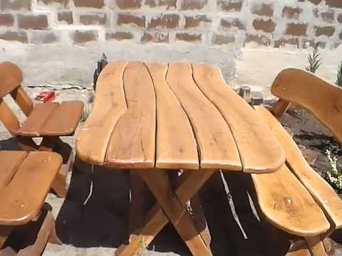 Красивая садовая мебель из натурального дерева
