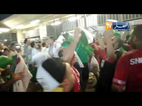 """إحتفالات الجزائريين والمصريين بعد تأهل الخضر للنهائي .. """" مصري جزائري خاوة خاوة"""""""