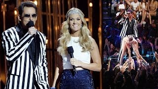 Miley Cyrus VMA Jokes in Carrie Underwood Opening at Country Music Awards 2013 CMAs!