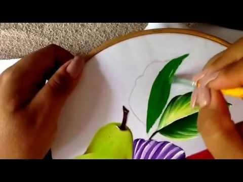 Pintura en tela flor violeta y hojas con doblez para - Patrones para pintar en tela ...