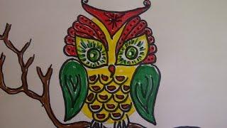Уроки рисования для начинающих. Как нарисовать сову.   Рисуем  животных и птиц