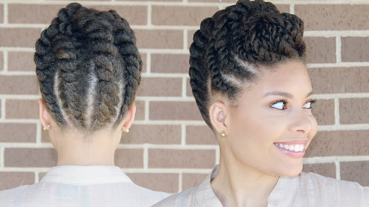 flat twist updo protective style