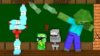 Monster School BOTTLE FLIP Challenge Minecraft Animation