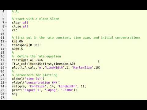 Numerical Solutions Of Chemical Rate Equations In MATLAB