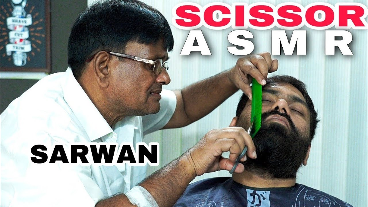 RELAXING SCISSOR ASMR BEARD TRIMING ✂️ 💈INDIAN BARBER💈