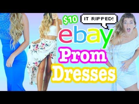 TRYING ON $5 EBAY PROM DRESSES! Cheap Dresses I Bought Online *DISASTER*