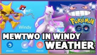 4 MEWTWO VS GENGAR RAID IN WINDY WEATHER POKEMON GO | BLAZIKEN + MACHAMP COMPARISON | DUO ABSOL RAID
