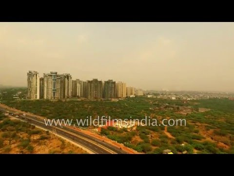 Pedestrian walkway and toll plaza on Faridabad to Agra NH2 : aerial footage