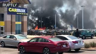 حريق في كاليفورنيا يدمر سيارات بقيمة 2 مليون دولار.. فيديو