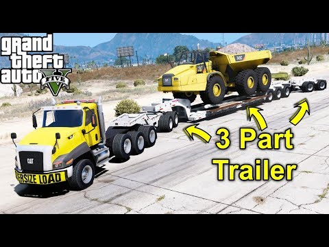 GTA 5 REAL LIFE MOD #86 Hauling Construction Equipment With New Extended Lowboy Trailer