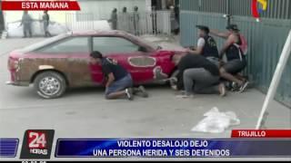 Violento desalojo deja una mujer herida y seis detenidos en Trujillo