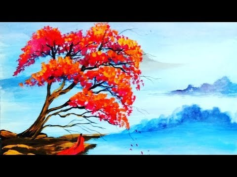 Very Easy & Simple Color Landscape Acrylic Painting techniques #14/Satisfying ASMR Relaxing painting