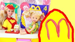 Mcdonalds Happy Meal Barbie Playset & Vintage Mcdonalds Food Toys Magic Color Change Play-doh Egg