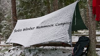 Solo Winter Hammock Camṗing - 4K