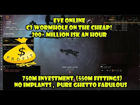 Eve online – C3 Wormhole on the cheap! 200+ million an hour!