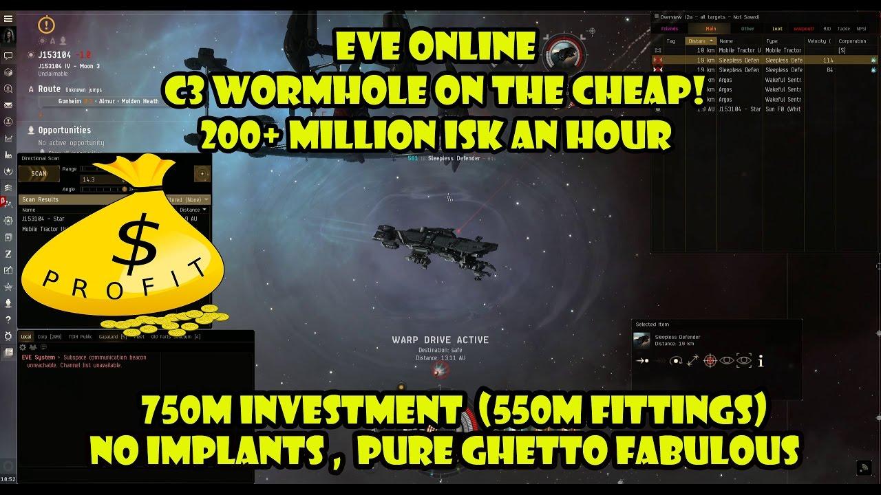 Eve online – C3 Wormhole on the cheap! 200+ million an hour!