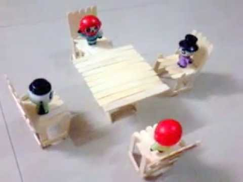 Popsicle Sticks / Ice Cream Sticks Dining Table With Chairs For Pandas/toys    YouTube