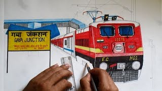 Sketching Mahabodhi Express  [ Standing at GAYA Railway Station ] MGS WAP4