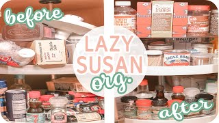 Lazy Susan Cabinet Organization (FINALLY A GOOD SOLUTION)