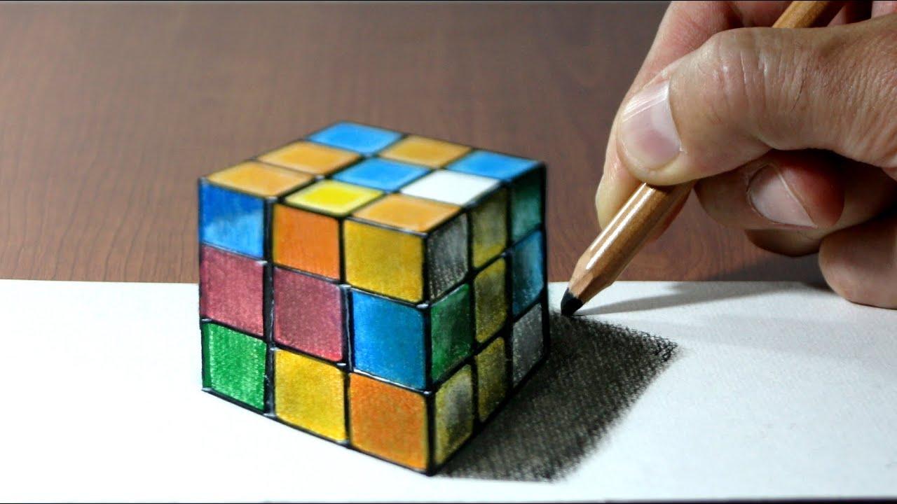 3d trick art on paper rubik 39 s cube youtube for How to do 3d paper art