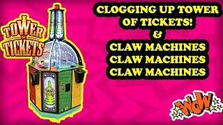 Clogging up Tower of Tickets! Winning from Claw Machines! Arcade Carnival Game HOOPLA Bonus Win!