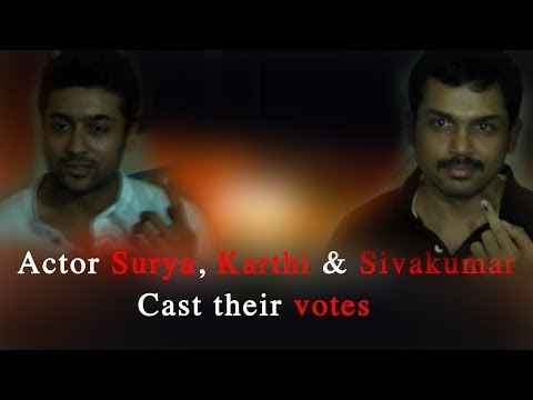 Actor Surya, Karthi & Sivakumar cast their votes - RedPix 24x7  Actor Suriya cast his vote at Hindi Prachar Saba in Chennai, at around 12 noon. The star actor flew down from Goa, where he has been shooting for his Lingusamy directed 'Anjaan'. Suriya though seems to have cast his vote with his brother   Music: Hey Girl Artist:Topher Mohr and Alex Elena Album:YouTube Audio Library   http://www.ndtv.com BBC Tamil: http://www.bbc.co.uk/tamil INDIAGLITZ :http://www.indiaglitz.com/channels/tamil/default.asp  ONE INDIA: http://tamil.oneindia.in BEHINDWOODS :http://behindwoods.com VIKATAN http://www.vikatan.com the HINDU: http://tamil.thehindu.com DINAMALAR: www.dinamalar.com MAALAIMALAR http://www.maalaimalar.com/StoryListing/StoryListing.aspx?NavId=18&NavsId=1 TIMESOFINDIA http://timesofindia.indiatimes.com http://www.timesnow.tv HEADLINES TODAY: http://headlinestoday.intoday.in PUTHIYATHALAIMURAI http://www.puthiyathalaimurai.tv VIJAY TV:http://www.youtube.com/user/STARVIJAY  -~-~~-~~~-~~-~- Please watch: