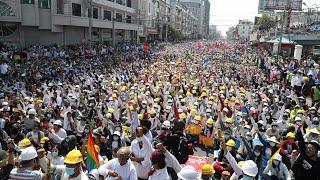 video: Mass rallies in Myanmar in 'Five Twos revolution' despite junta's warning of 'loss of life'