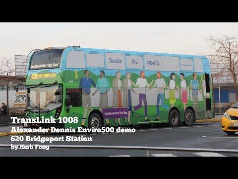 TransLink CMBC: ride on R1008 on 620 Bridgeport Station! (Alexander Dennis Enviro500 demo)