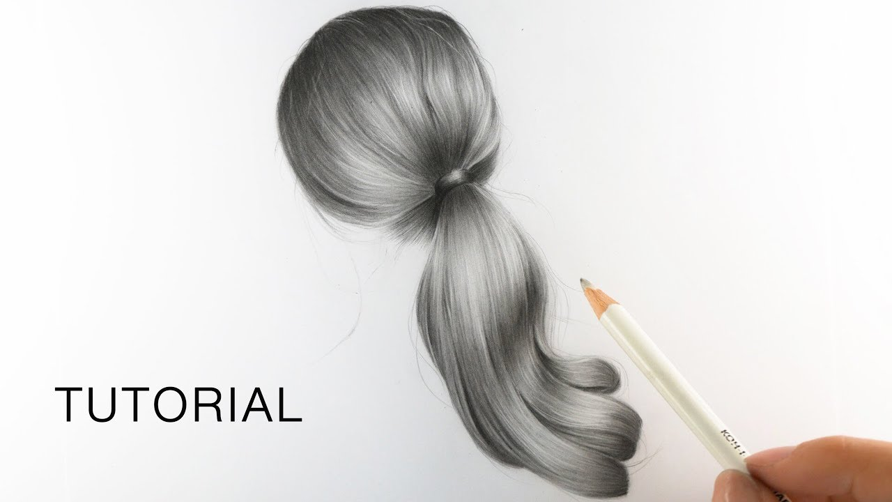 How To Draw Realistic Hair For Beginners Ponytail Youtube