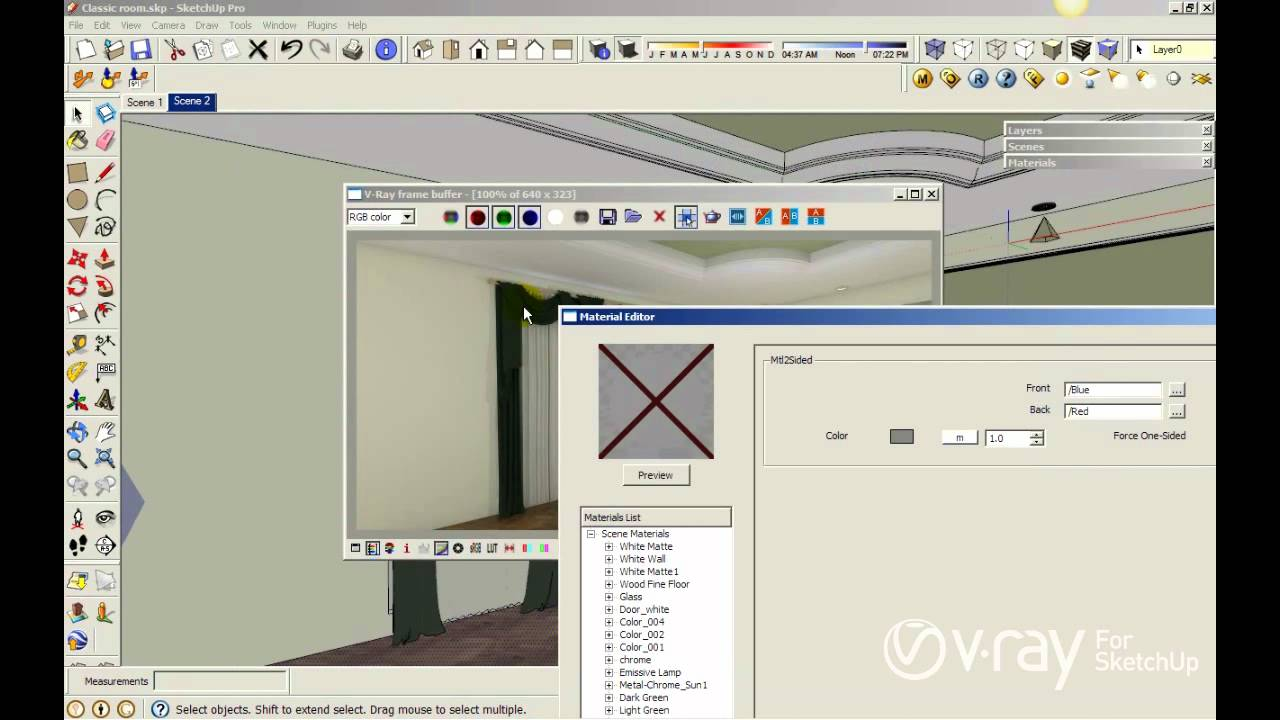 v ray for sketchup using v ray two sided material to create a curtain tutorial youtube. Black Bedroom Furniture Sets. Home Design Ideas