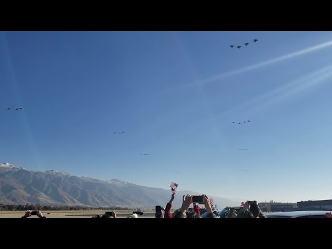 35 F35s Flyover - Historical Show of Force. Hill AFB. $3.5B of aircraft!