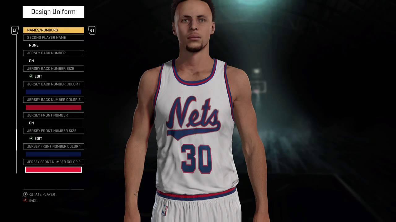 9f1d96cc8738 NBA 2K16 1981-82 New Jersey Nets alternate home and away jersey tutorial