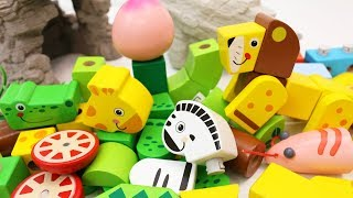 Learn Colors, Animals and Fruits with Wooden Toy Animals Educational Video