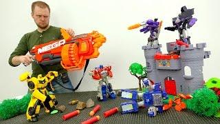 Видео для детей: игрушки #Трансформеры. Мега Нерф против десептиконов! Фабрика Героев