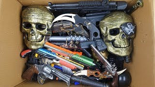 Big Box Full of Pirates Toy Guns and Weapons !! Beaded Pistols Rifles and Machine Guns
