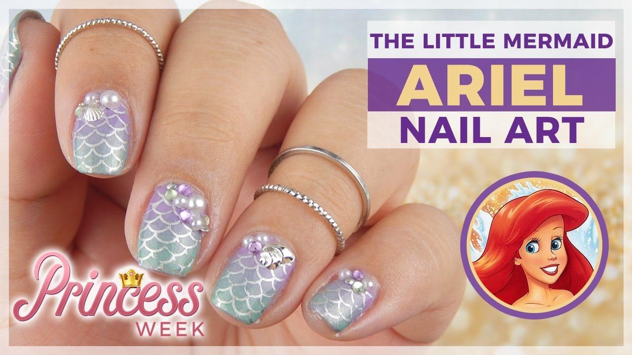 Princess Week Ariel From The Little Mermaid Nail Art Design Youtube