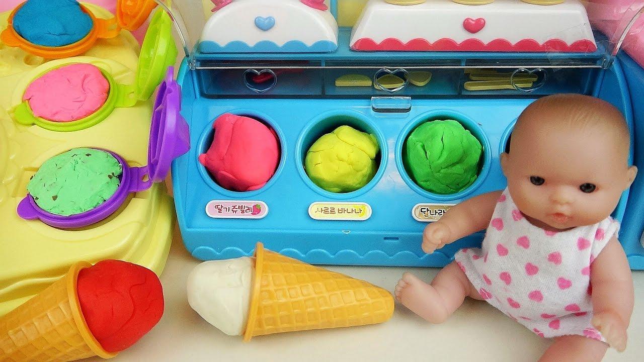 Baby doll Ice cream play doh toys play - YouTube