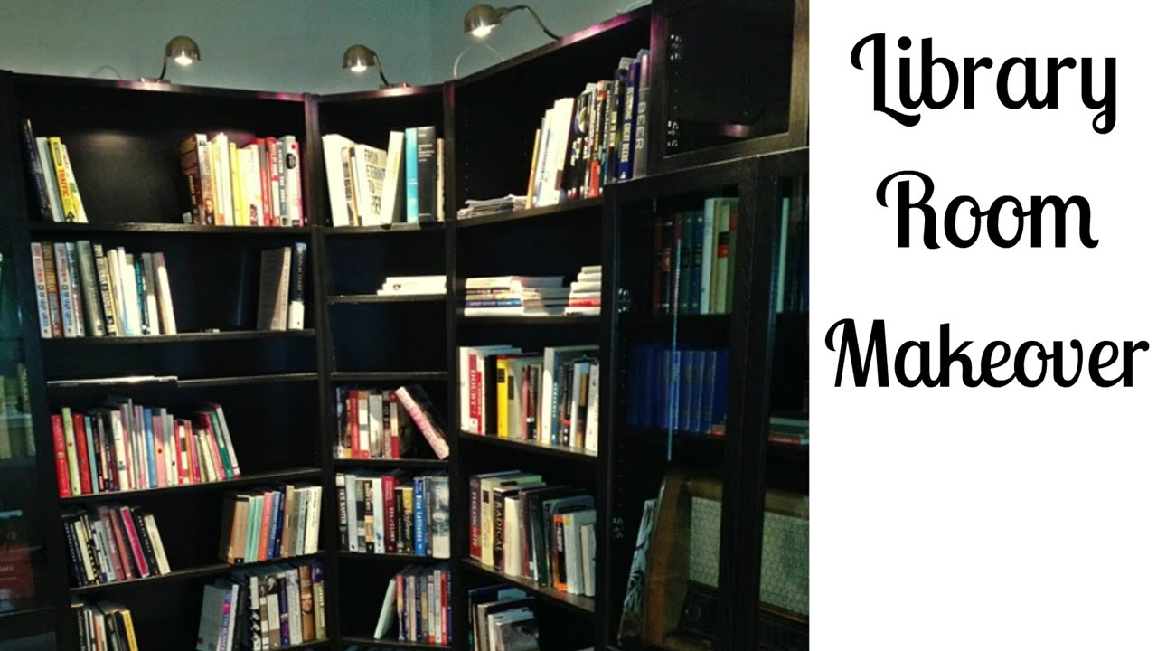 Library Room Makeover With Ikea Bookcases Youtube