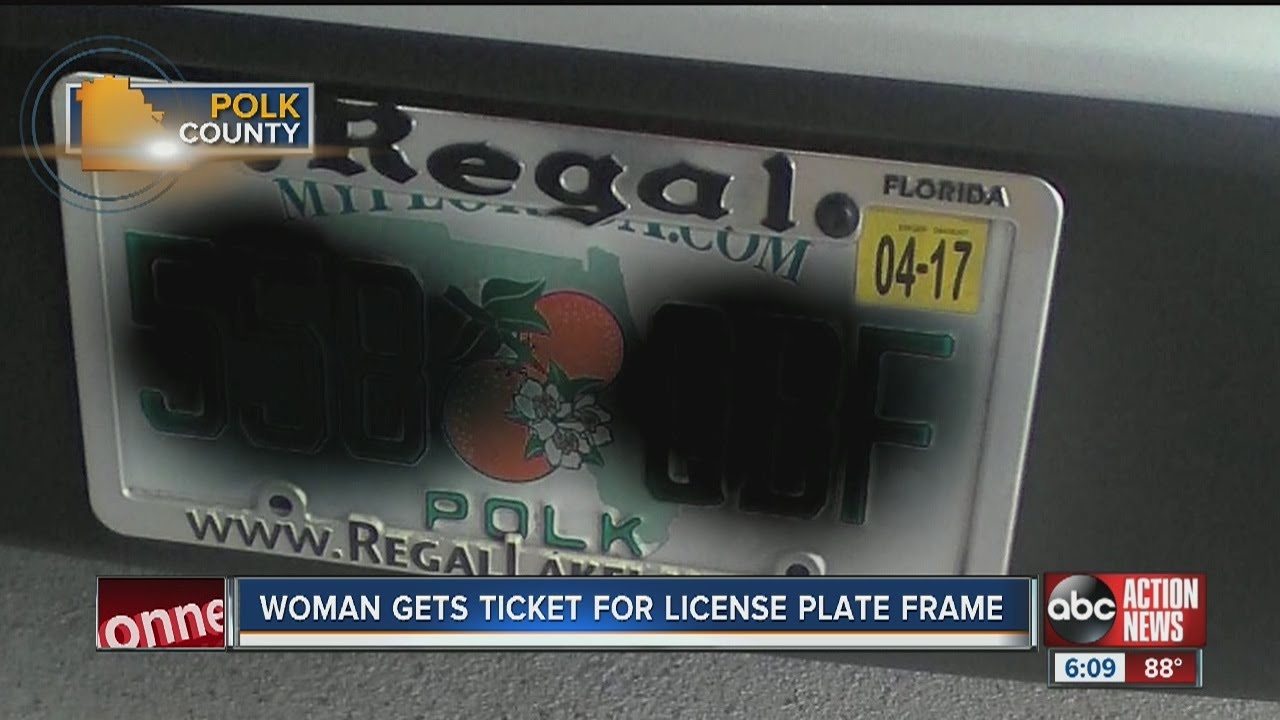 Woman gets ticket for license plate frame - YouTube