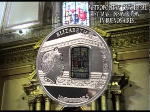 "10$ Silver coin - ""Buenos Aires"" - Windows of Heaven - Cook Islands 2014"