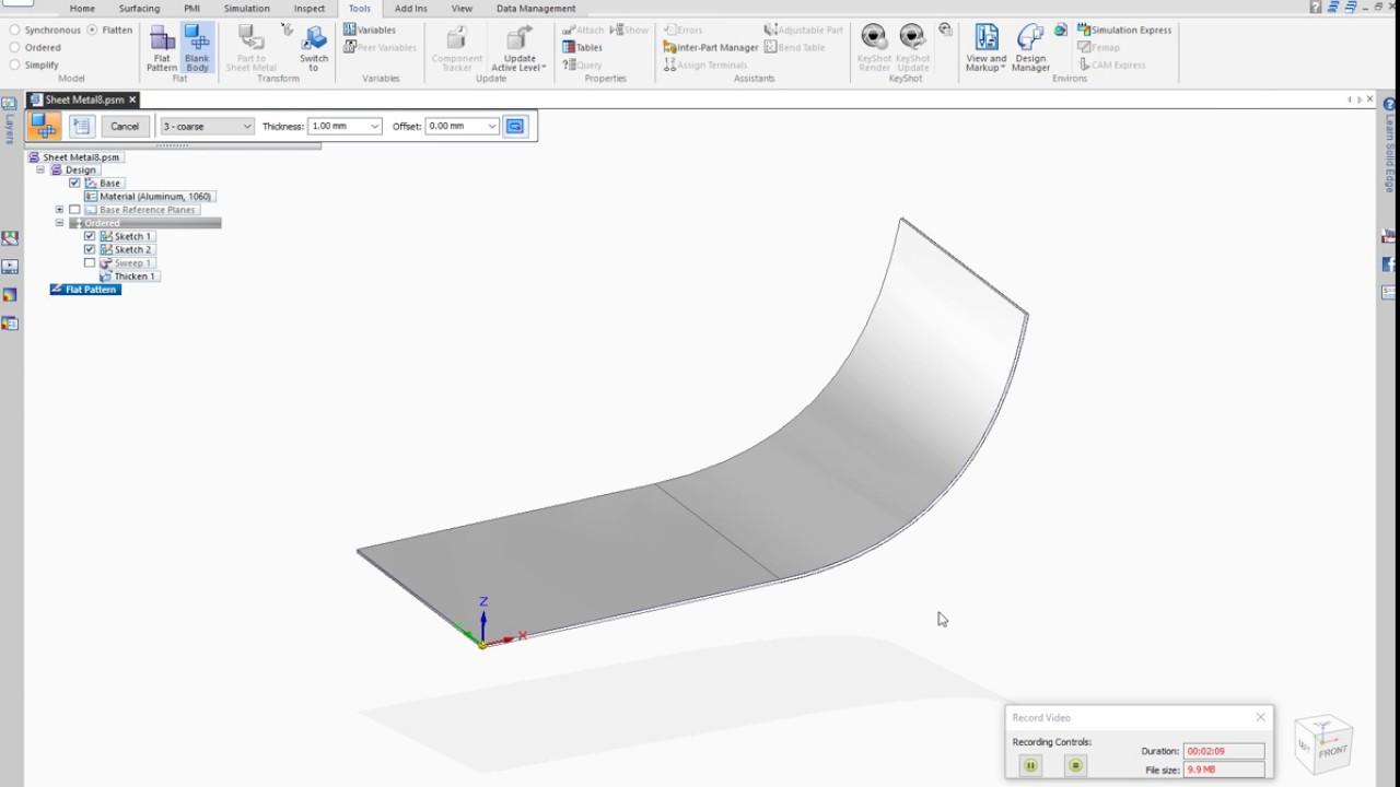 Flattening Of A Spline Shaped Sheet In The Sheet Metal Mode In Solid