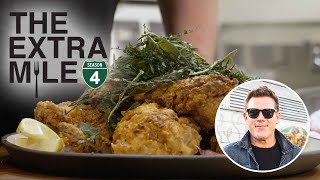 Tyler Florence Makes His Famous Fried Chicken \u0026 Eats Tapas | Great Food Truck Race | Food Network