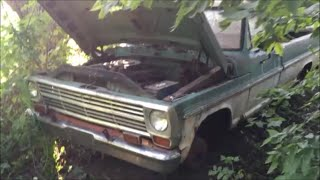 68 F100 Revival (20 Years Forgotten in the Woods) PART 1 - Will She Fire ??? Grassroots Roadkill