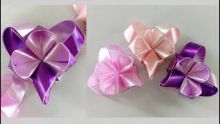 สอนพับเหรียญโปรยทานอย่างง่าย สำหรับมือใหม่ รูปหัวใจลายดอกอะจิไซ แบบท้ายแหลม .. Ribbon Art