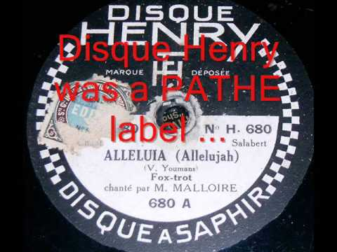 Paris 1929 - HALLELUJAH! (Vincent Youmans) on Pathe's DISQUE HENRY with WEIRD FRENCH LYRICS