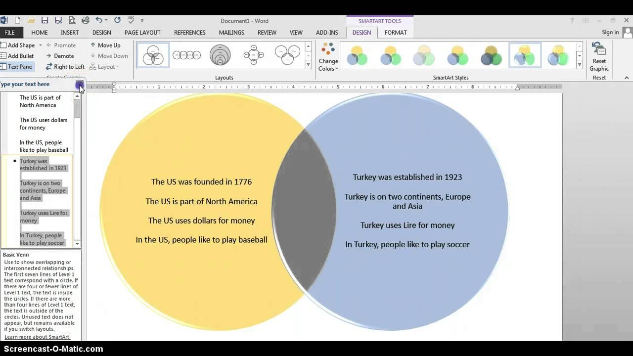 Smart Art Venn Diagram  YouTube