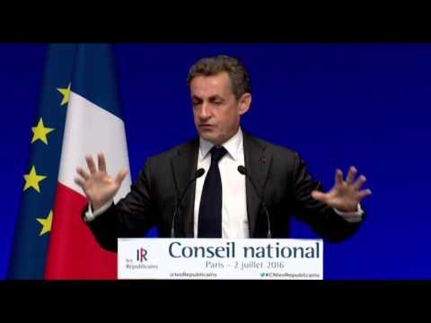 Discours de Nicolas Sarkozy au Conseil National du 2 juillet 2016