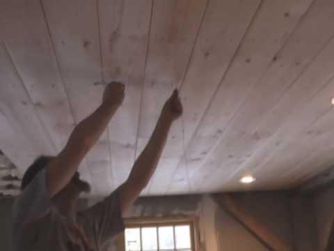White pine v-groove ceiling going up!