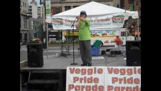 Joan Wai, of Youth Buddhism Communications, presents at Veggie Pride Parade NYC 2012