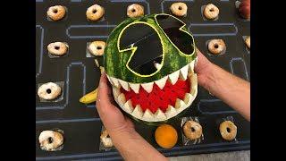 Monster Pacman Watermelon. Cardboard game. DIY